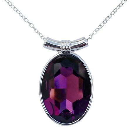 Purple Swarovski Crystal Silver Plated Cufflinks - Amethyst Swarovski Crystal Oval Pendant on 18 2mm Silver-Plated Necklace Chain