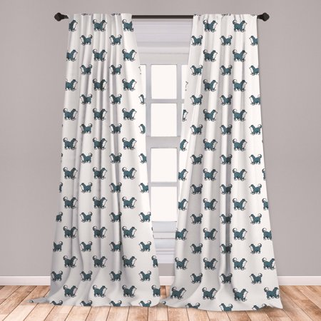 Dog Curtains 2 Panels Set, Husky Puppy Siberian Energetic Pet Alaskan Origin Sketch Style Cartoon Cold, Window Drapes for Living Room Bedroom, Blue Grey Black White, by