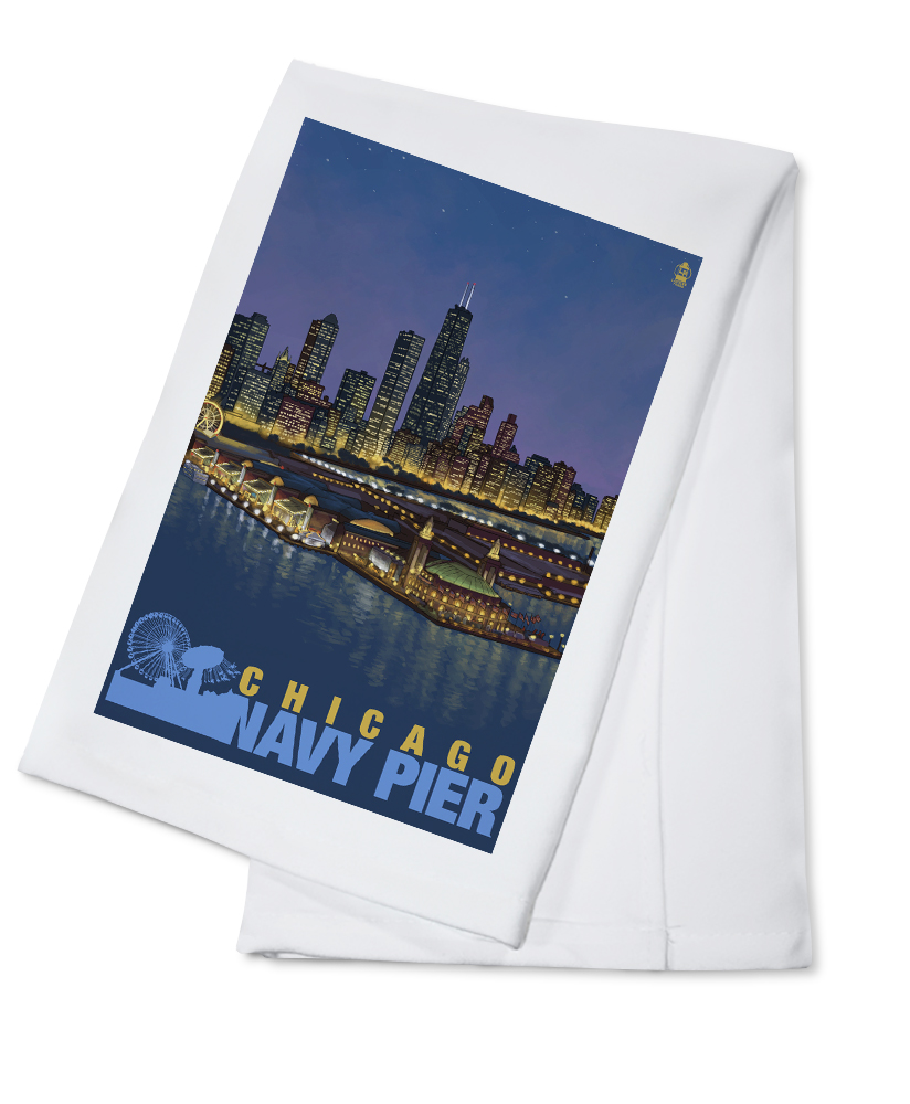 Click here to buy Navy Pier and Chicago Skyline Lantern Press Artwork (100% Cotton Kitchen Towel) by Lantern Press.