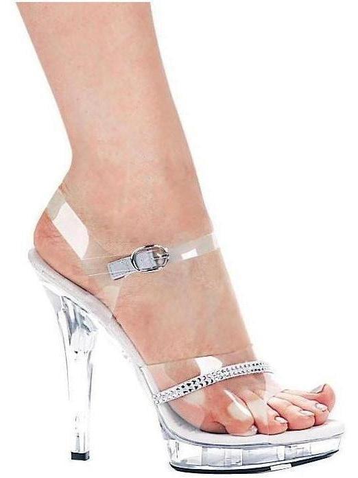 Ellie Shoes E-711-Jewel 7 Heel Clear Sandal with Rhinestone