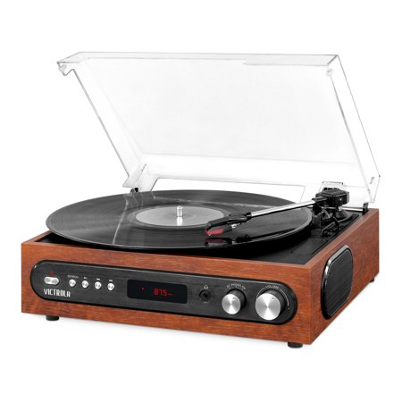 Victrola All-in-1 Bluetooth Record Player with Built in Speakers and 3-Speed Turntable,