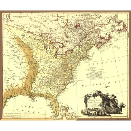 Revolutionary War Map   Usa With British And Spanish Territories 1785   23X27