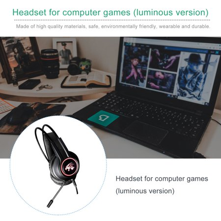 V9000 Computer Gaming Headphone With Microphone Internet Cafe Wired Headset - image 3 de 10