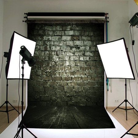 3x5FT Vinyl Black Retro Brick Wall Board Background Studio Photo Photography Backdrop Prop - Brick Background