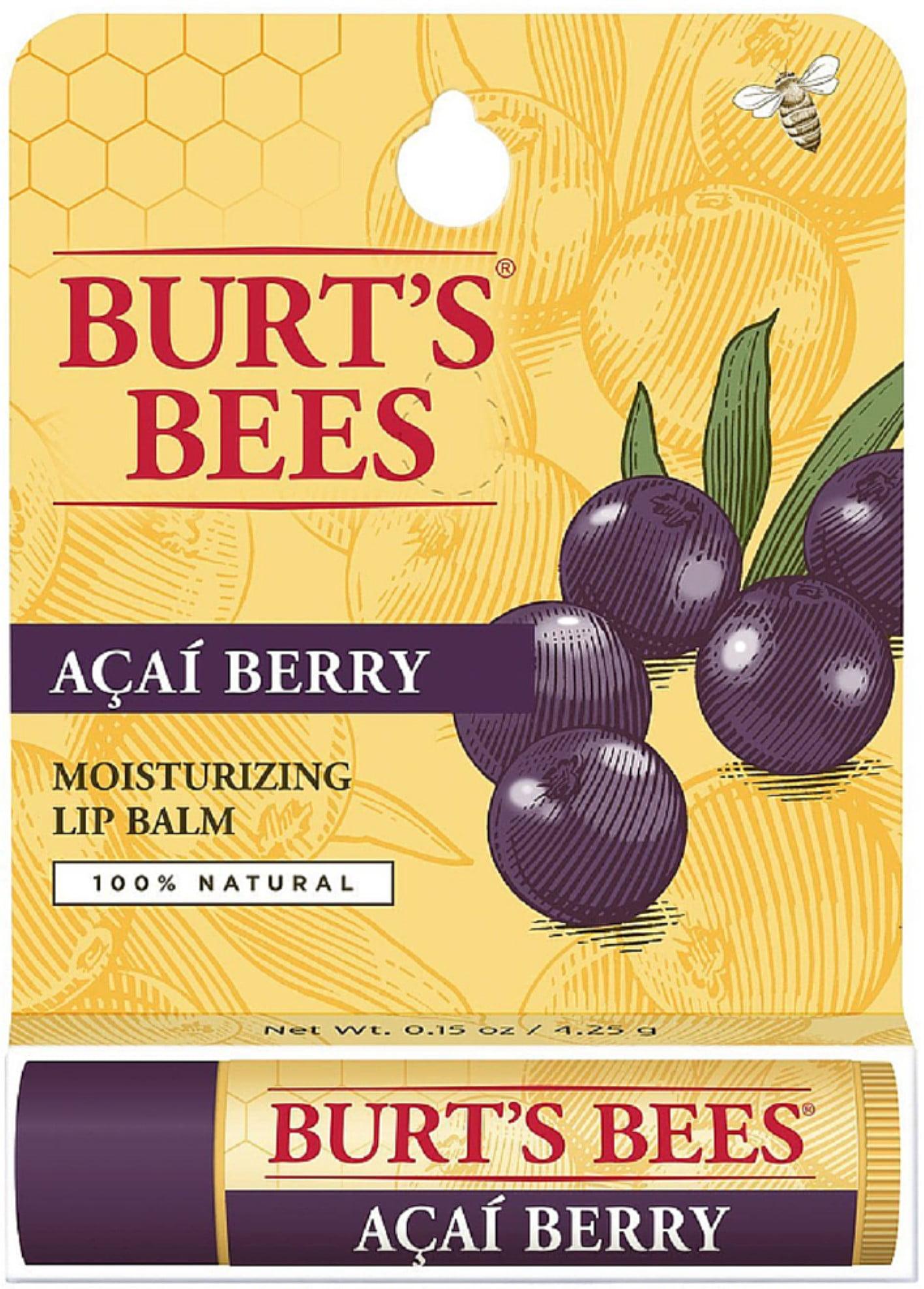 Burt's Bees 100% Natural Rejuvenating Lip Balm, Acai Berry 0.15 oz (Pack of 6)