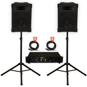 """Podium Pro 12"""" Speakers 2 Way Monitor Pair, Stands, Amp and Cables Set PA DJ Karaoke TRAP12SET2"""