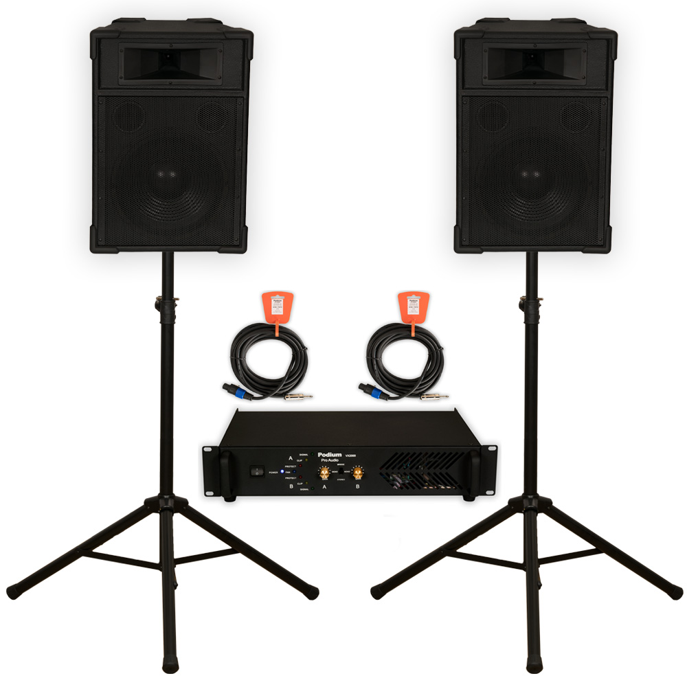 "Podium Pro 12"" Speakers 2 Way Monitor Pair, Stands, Amp and Cables Set PA DJ Karaoke TRAP12SET2"