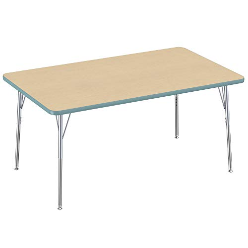 24 x 48 inch Adjustable Height 19-30 inches FDP Rectangle Activity School and Office Table Maple Top and Black Edge with Sand Legs Standard Legs with Swivel Glides