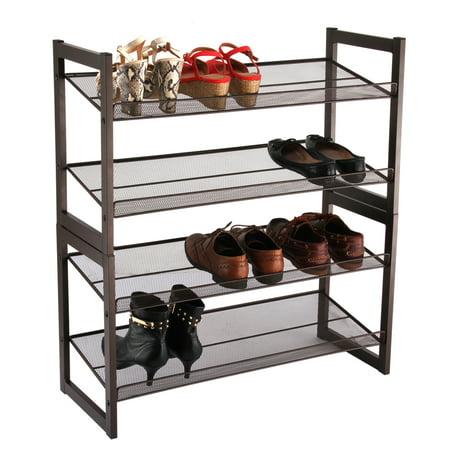 Shoe Rack Langria 4 Tier Metal Utility Tower Organizer Shelf For Closet Bedroom Entryway Bronze