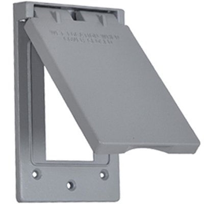 Hubbell Electrical Products 1C-GV Gray Weatherproof Vertical GFI Receptacle Flip Cover ()