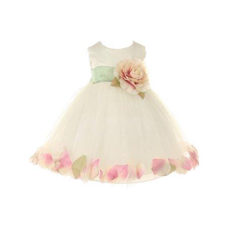 09122c8c3df baby girls ivory peach petal adorned satin tulle flower girl dress 6-24m