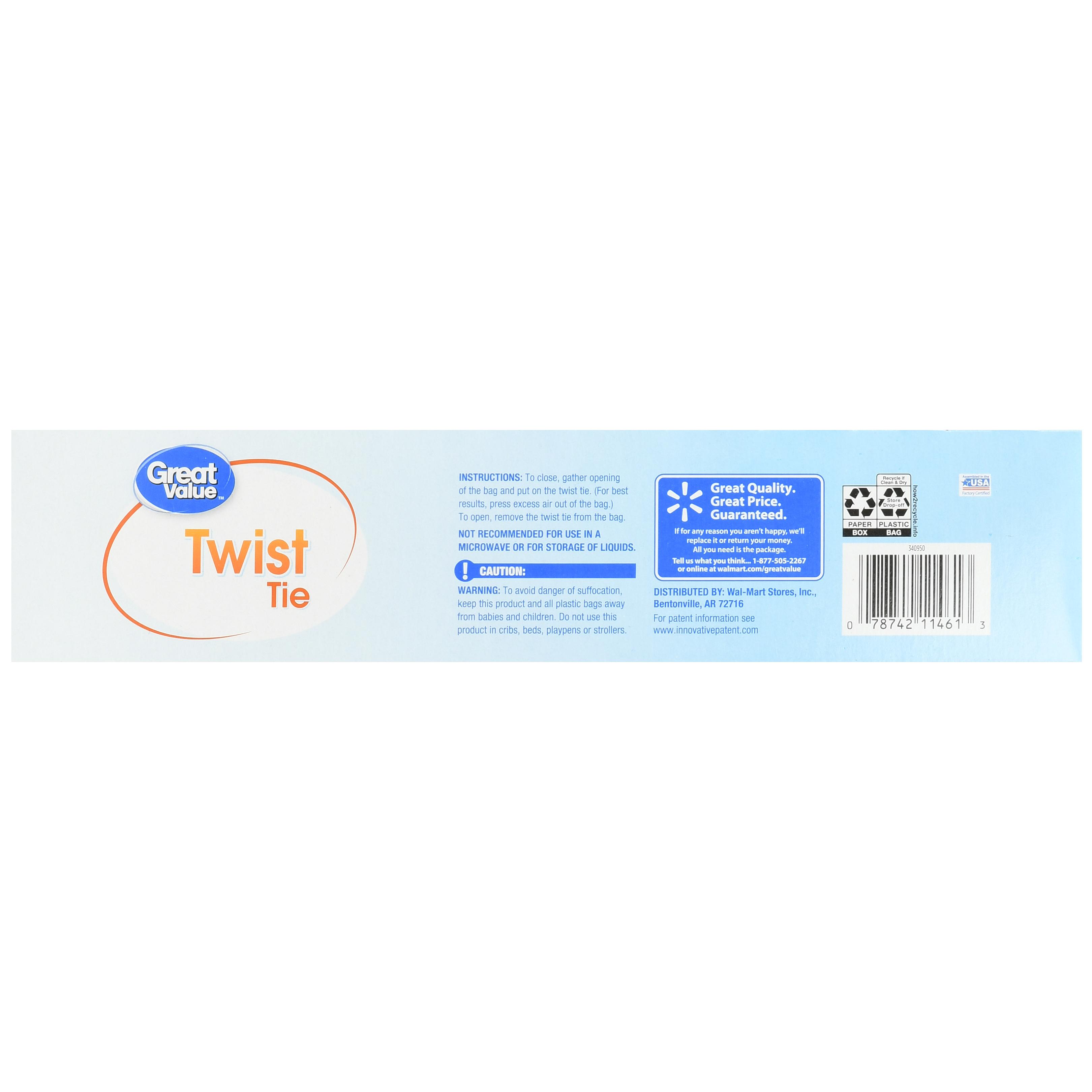 Great Value Twist Tie Storage Bags, Gallon, 100 Count