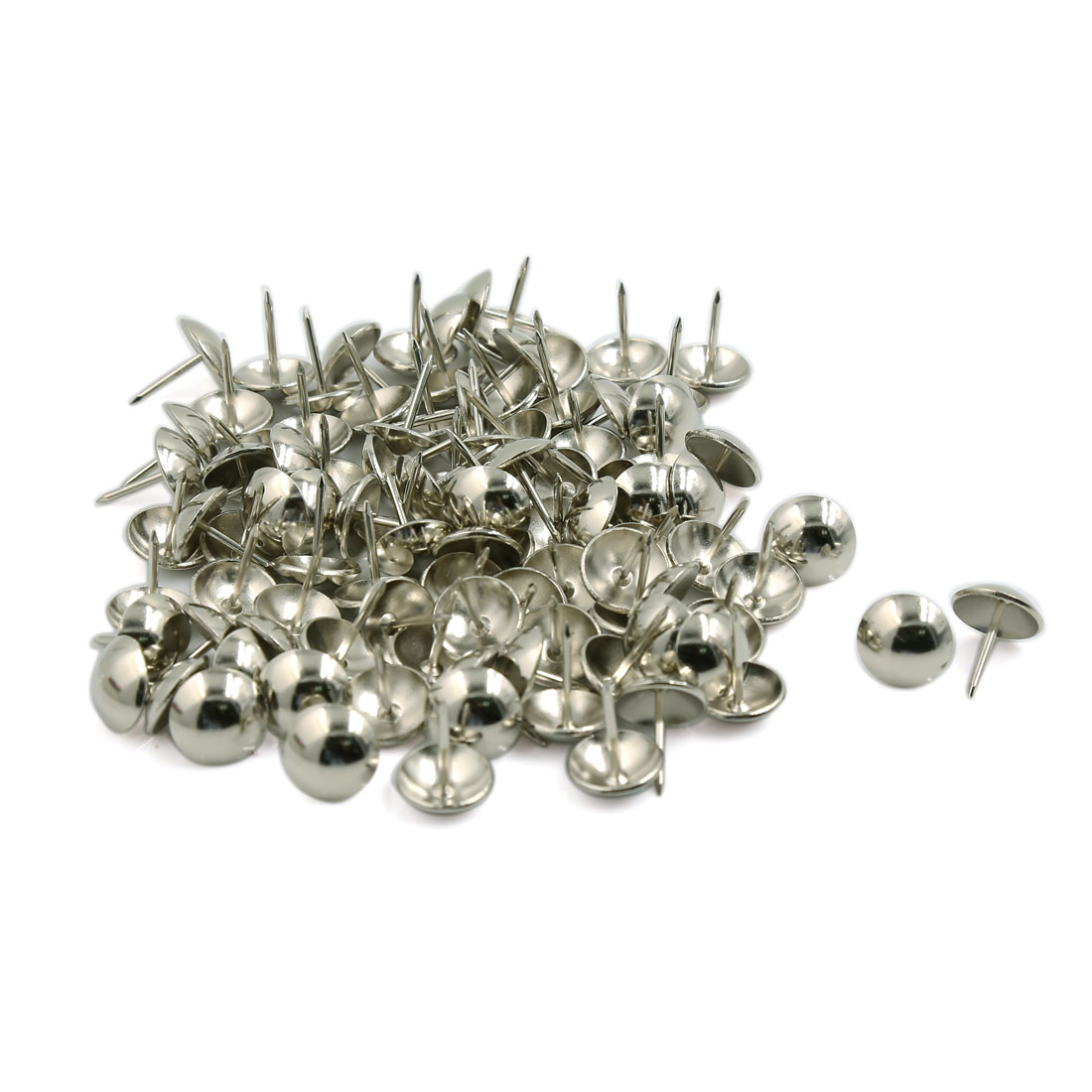 Unique Bargains 100 Pcs Home/Office Board Map Push Pins Thumbtacks w Steel Point Silver Tone