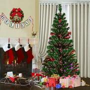 Goplus 5Ft Pre-Lit Fiber Optic Artificial PVC Christmas Tree w/ Metal Stand Holiday