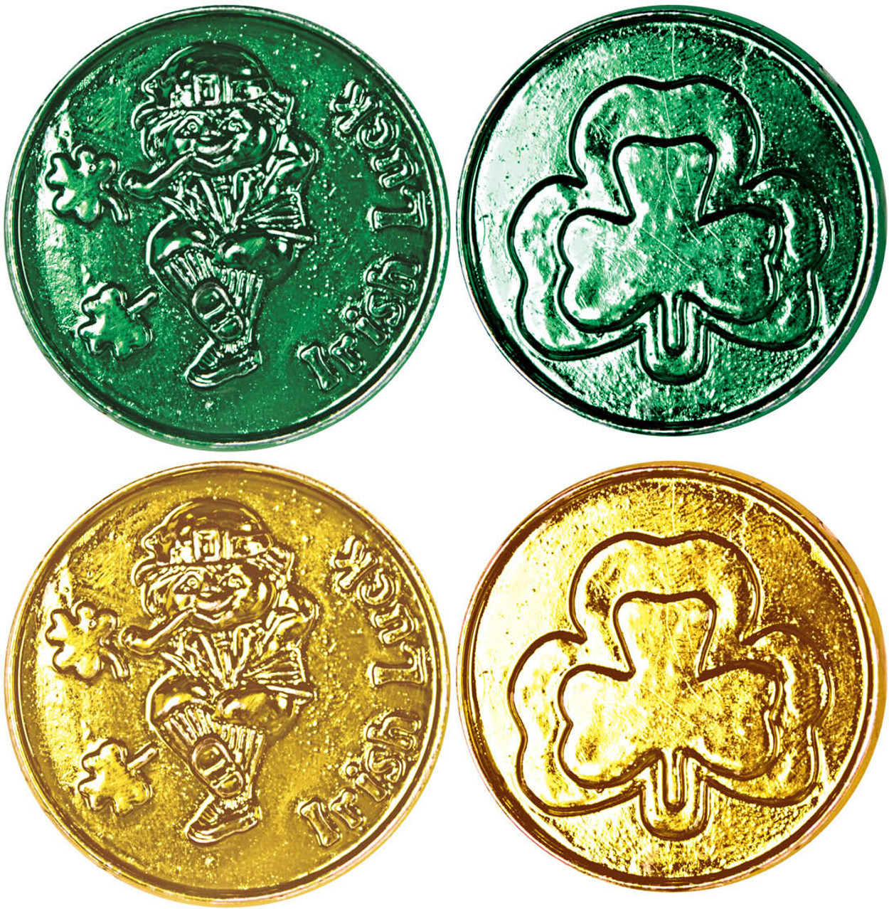Set of 40 Gold And Green Saint Patrick's Day Toy Play Money Coins
