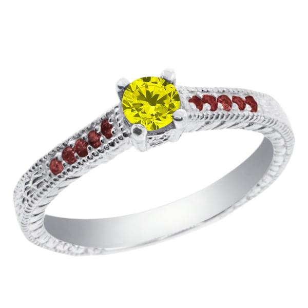 0.35 Ct Round Canary Diamond Red Rhodolite Garnet 14K Whi...