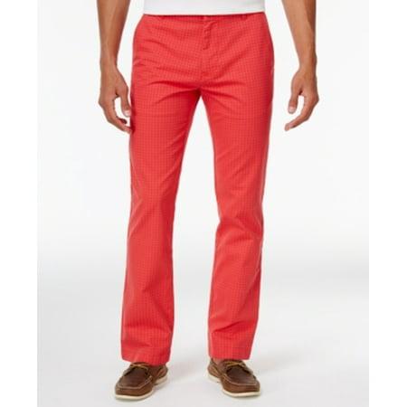 Tommy Hilfiger NEW Red Mens Size 34X32 Dot-Pattern Custom-Fit Pants
