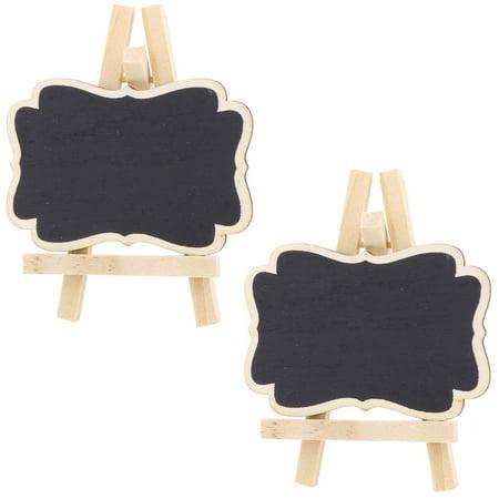 Wedding Wood Table Desktop Ornament Place Card Blackboard Chalkboard Black 2 Pcs