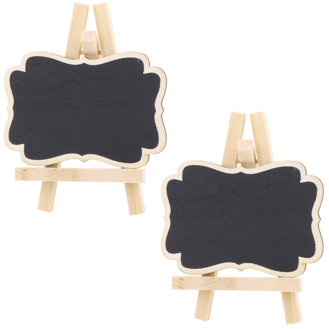 Wedding Wood Table Desktop Ornament Place Card Blackboard Chalkboard Black 2 Pcs
