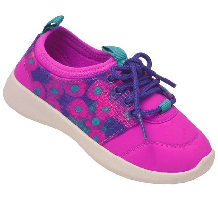 Chooze Little Girls Purple Hot Pink Circle Lace-Up Sneakers
