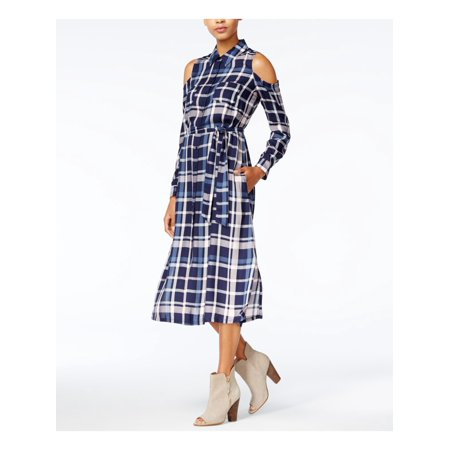 MAISON JULES Womens Navy Pocketed Cut Out Plaid Cuffed Collared Below The Knee Shirt Dress  Size: (Navy Dress With White Collar And Cuffs)
