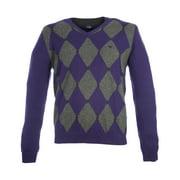 Pal Zileri Men's Argyle V-Neck Sweater IT 50 Purple & Dark Grey
