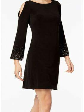 b19c0a9c Product Image JESSICA HOWARD Womens Black Cold Shoulder Embellished Long  Sleeve Jewel Neck Mini Shift Evening Dress Petites