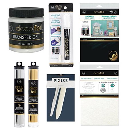 Foil Transfer Accessory Bundle Transfer Gel, Parchment Paper, Deco Foil Adhesive Pen, Deco Foil Peel N Stick Toner, Palette Knife, Bone Folder, Silver And Gold (Stack Pallet)