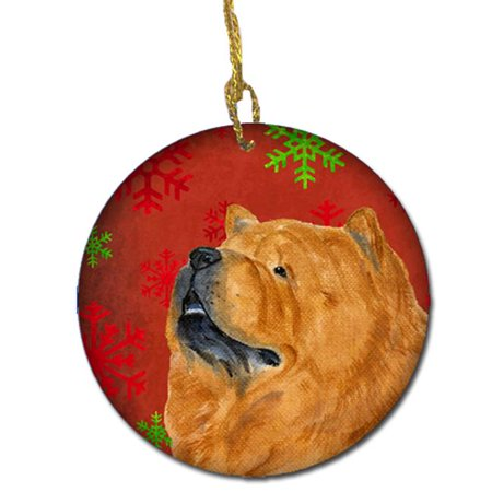 Chow Chow Red Snowflakes Holiday Christmas Ceramic Ornament - image 1 of 1