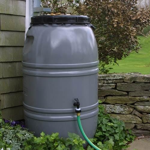 Painted Rain Barrel - Nantucket Grey
