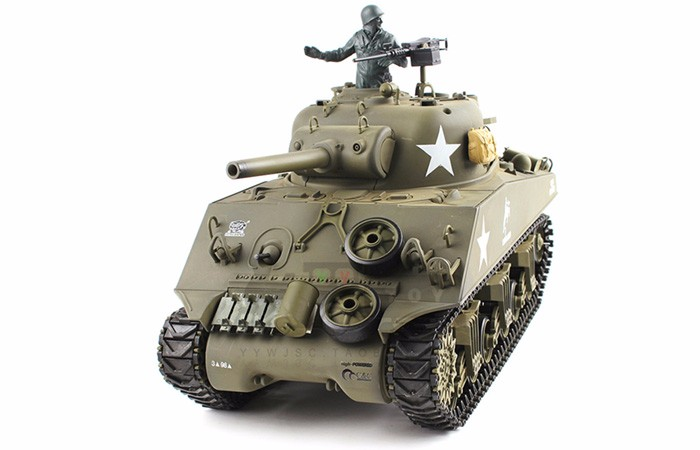 2.4Ghz Radio Control 1 16 US M4A3 Sherman 105mm Howitzer Air Soft RC Battle Tank w Sound & Smoke by