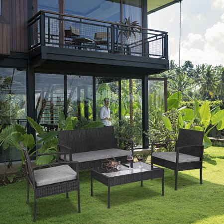 UBesGoo 4 PCS Rattan Patio Furniture Set Wicker Conversation Set Garden Lawn Outdoor Sofa Set Cushioned Seat Tempered Glass Table Top ()