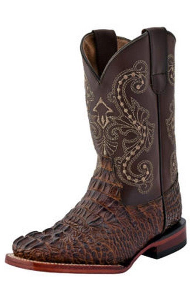 Ferrini Western Boots Boys Girls Caiman Print Pull Tabs Choc 70393-09 by Ferrini