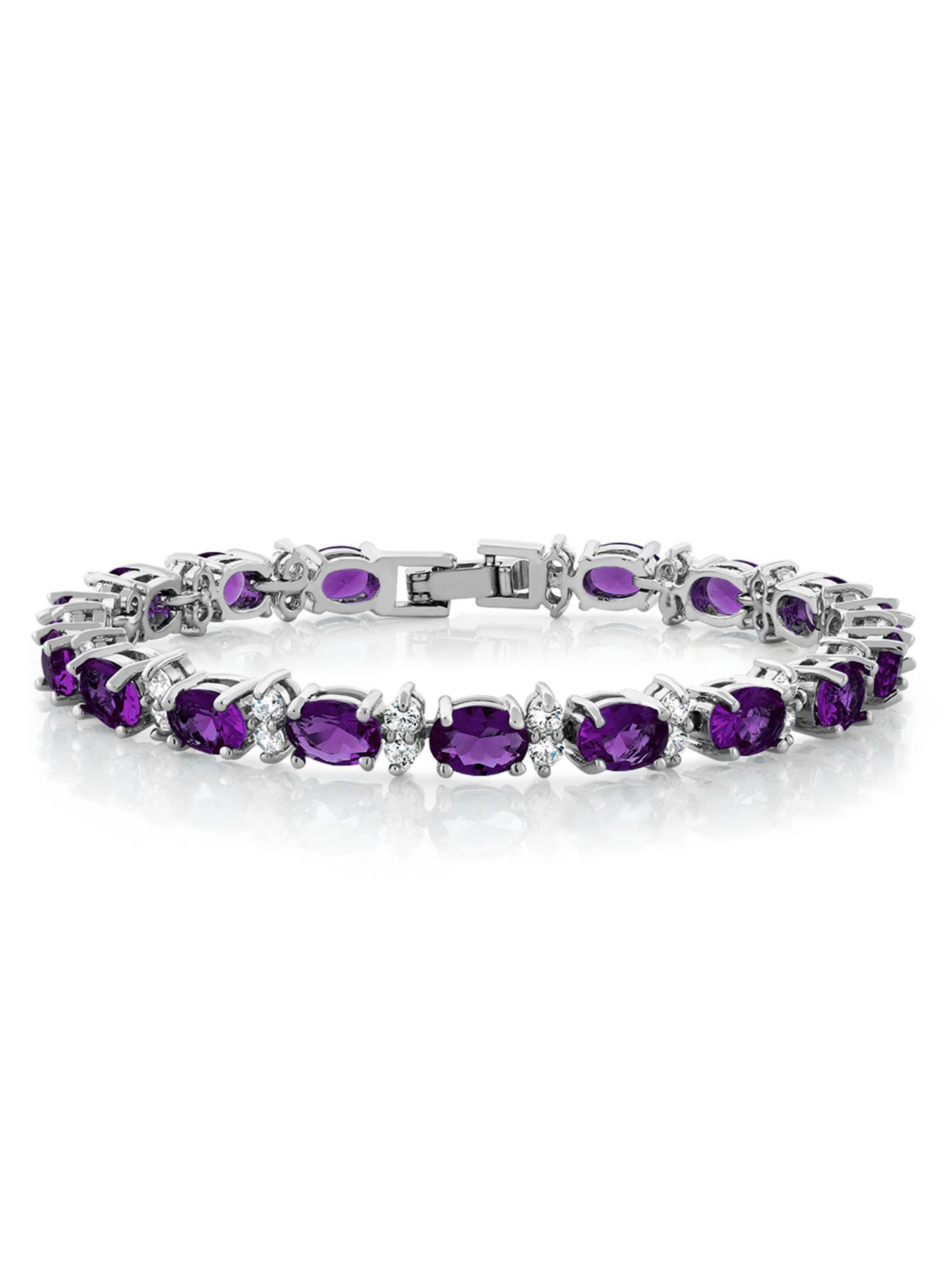 Gem Stone King 9.20 Ct Oval Purple Amethyst 18K Yellow Gold Plated Silver Bracelet