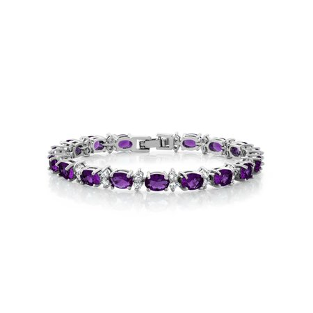 Gem Stone King 20.00 Ct Oval & Round Purple Color Cubic Zirconias CZ Tennis Bracelet 7