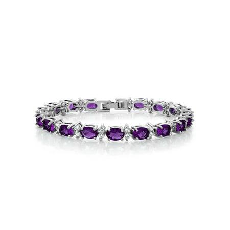 Gem Stone King 20.00 Ct Oval & Round Purple Color Cubic Zirconias CZ Tennis Bracelet