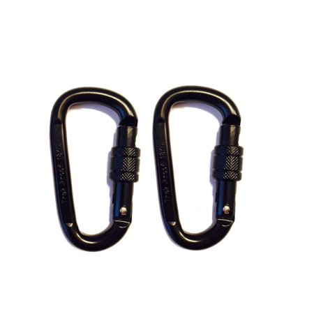 18KN Carabiner Clip Set (2-Pack) Locking D-Ring with Heavy Duty Steel Alloy – Hammocks, Camping, Hiking, Traveling – Black – 4000 lb. Weight Capacity