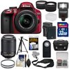 Nikon D3300 Digital SLR Camera & 18-55mm G VR DX II (Red) + 55-200mm VRII Lens + 32GB + Case + Battery/Charger + Tripod + Flash + Tele/Wide Lens Kit Nikon D3300 Digital SLR Camera<br> + 18-55mm VR II Lens Outfit <br>Creating beautiful photos and videos has never been more fun. Life is full of surprising, joyful moments -- moments worth remembering. The <b>Nikon D3300 Digital SLR</b> makes it fun and easy to preserve those moments in the lifelike beauty they deserve: stunning <b>24.2-megapixel photos</b> and <b>1080p Full HD videos</b> with tack-sharp details, vibrant colors and softly blurred backgrounds. Like sharing photos? The D3300 photos can appear instantly on your compatible smartphone or tablet for easy sharing with the <b>optional WU-1a Wireless Adapter</b>! Whether youre creating high-resolution panoramas, adding artistic special effects or recording HD video with sound, the D3300 will bring you endless joy, excitement and memories -- just like the special moments of your life. This camera outfit includes the versatile <b>AF-S DX NIKKOR 18-55mm f/3.5-5.6G VR II</b> lens which delivers the sharpest, most color-rich results imaginable. Optimized for Nikons new high-resolution DX-format image sensors, it borrows the ultra-compact retractable lens barrel design from the Nikon 1 system. Nikons remarkable <b>Vibration Reduction</b> technology provides 4 stops of blur-free handheld shooting -- enjoy crisp, clear images even if your hands are a bit unsteady and shoot at slower shutter speeds in low-light situations. <br><br><b>Key Features:</b><br> <b>Create stunning lifelike photos and HD videos</b><br> Taking snapshots with a smartphone is convenient, but are those photos good enough for preserving precious moments? The D3300s new EXPEED 4 lets you shoot at high speeds up to 5 frames per second, shoot in low light with high ISO sensitivity, create high-resolution panoramas and much more. Your 24.2-megapixel photos and 1080p Full HD videos will be so impressive, so rich with detail+ and color -- so lifelike -- theyll bring back the feelings of the moments they capture. <b>Compact, lightweight and reliable</b><br> The D3300 is a small and light HD-SLR camera even when paired with the included AF-S DX NIKKOR 18-55mm f/3.5-5.6G VR II lens, which has a new ultra-compact design. The combination is designed to fit comfortably in your hands, and all of the D3300s buttons and dials are positioned for convenient, efficient operation. Youll take the D3300 everywhere you go, which means youll bring home all the beautiful memories of your activities. <b>Focus on the details</b><br> The D3300s 11-point Autofocus System locks onto your subjects as soon as they enter the frame and stays with them until you catch the shot you want. Even fast-moving subjects are captured with tack-sharp precision. And when youre recording Full HD video, Full-time Autofocus keeps the focus where you want it. <b>Spectacular panoramas, Guide Mode and fun Special Effects</b><br> Using the D3300 is super easy -- and a blast. Cant get the whole scene into your frame? Turn on Easy Panorama Mode and pan across the scene -- the D3300 will capture the entire view as a high-resolution panoramic image. Its that easy! Guide Mode gives step-by-step help when you need it (its like having an expert at your side), and you can easily get creative with built-in Image Effects, filters and more. <b>Enjoy the view</b><br> Like all D-SLR cameras, the D3300 has an optical viewfinder that gives you a true view through the lens of the camera -- and what a view it is! If youve been using a point-and-shoot camera, youll find it easier to frame your shots, follow moving subjects, zoom in on bright sunny days and more. <b>Catch every moment</b><br> When the action starts, hold down the shutter button to capture every movement, expression and feeling at 5 frames per second -- thats 5 beautiful photos for every second of action! You wont believe some ot 5 frames per second -- thats 5 beautiful photos for every second of action! You wont believe some of the moments youll catch thanks to Nikons new high-speed EXPEED 4 processing engine.
