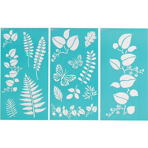 "Martha Stewart Large Stencils 3 Sheets/pkg, Ferns/Boughs 8-3/4""x16-3/4"", 17 Designs"