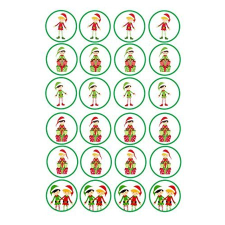 24 Mixed Elf Christmas Edible Frosting Cupcake Toppers* - Halloween Cupcakes Chocolate Frosting