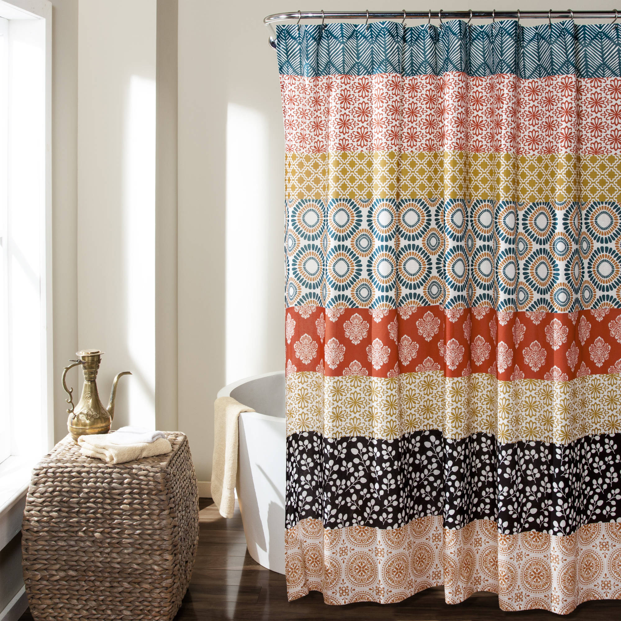 Bohemian Stripe Shower Curtain, Turquoise/Orange