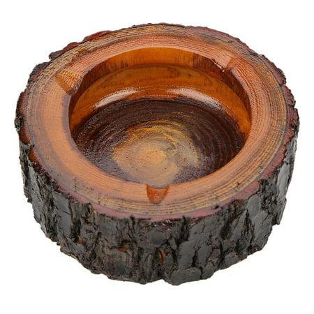 Qiilu 1PC Wooden Natural Round Ashtray Cigarette Tobacco Smoking Ash Tray Home Office Use New ,Ashtray, Wood Ashtray - image 3 of 4