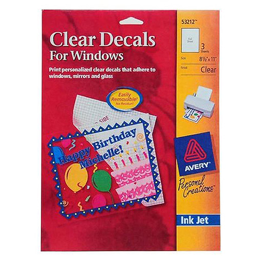 graphic relating to Printable Window Cling titled Avery Window Decals 53212, InkJet, Very clear, 8-1/2\