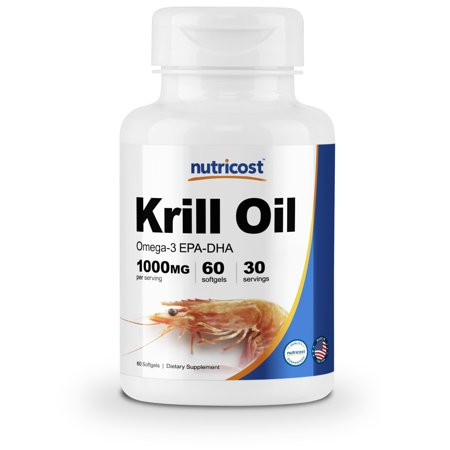 Nutricost Krill Oil 1000mg; 60 Liquid Softgels - Omega-3 (Best Krill Oil 1000mg)