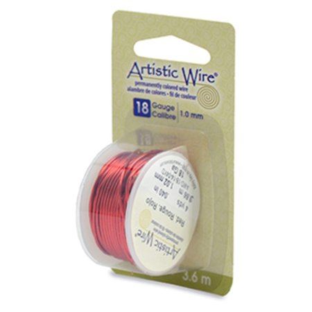 Beadalon Artistic Wire, Colored Copper Craft Wire, 18 Gauge (1mm), 4 yds. Red