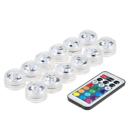 Mini LED RGB Submersible Light Colorful Lamp IP68 Water Resistance with Remote Control 12 Pack