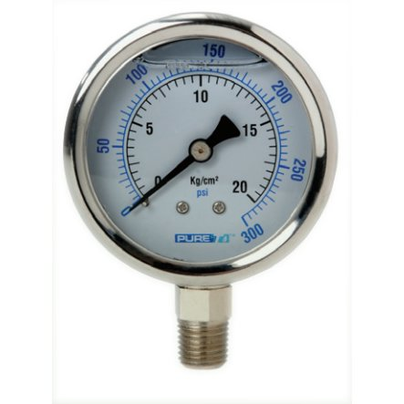 Puret  Pgb   Pt  2 5  Dial Liquid Filled Pressure Gauge Stainless Steel  1 4  Npt Center Bottom   0       100   Psi
