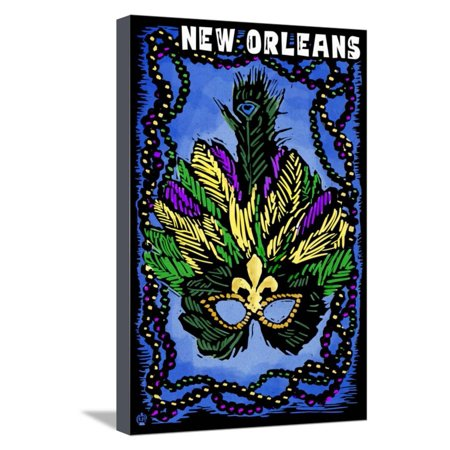 New Orleans, Louisiana - Marti Gras - Scratchboard Stretched Canvas Print Wall Art By Lantern Press](Marti Gra)