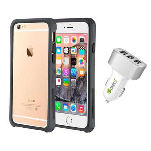 iPhone 6 Case Bundle (Case + Charger), roocase iPhone 6 4.7 Linear Bumper Open Back with Corner Edge Protection Case Cover with White 5.1A Car Charger for Apple iPhone 6 4.7-inch, Gray