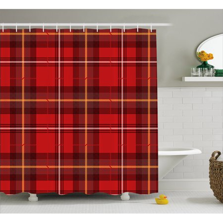 Red Plaid Shower Curtain Traditional European Culture Inspired Geometric Elements Angled Lines Squares Fabric